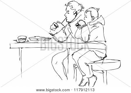 Vector Sketch Father And Son At The Table In A Cafe