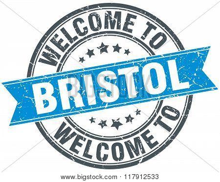 welcome to Bristol blue round vintage stamp