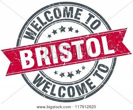 welcome to Bristol red round vintage stamp