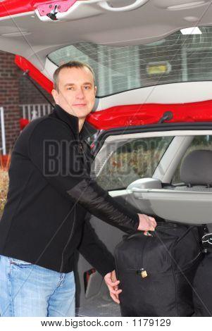 Man Car Luggage