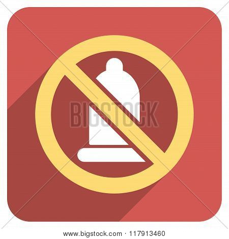 Forbidden Condom Flat Rounded Square Icon With Long Shadow