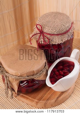 Jars And Vase With Cornel Jam
