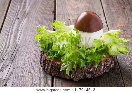 Stuffed Egg In The Form Of Porcini