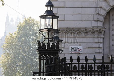 LONDON UK - October 04 2015: Downing Street's sign in Westminster. Downing St.