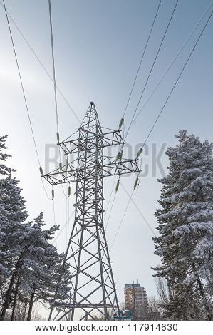 Steel Support Of High-voltage Electric Line.