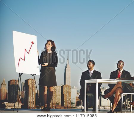 Business Team Meeting Rooftop Outdoors Concept