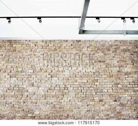 Brick Wall Structure Studio Minimalist Spotlight Ceiling Concept