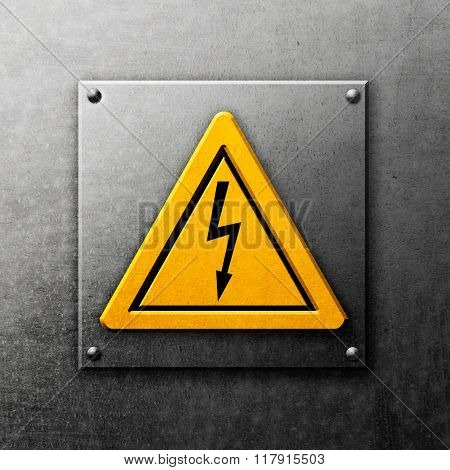 Metal Background With Yellow Sign
