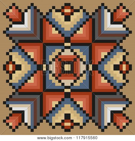 Stitching floral pattern in desaturated colors on a light brown background