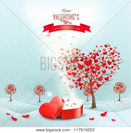 Valentine's day landscape with heart shaped trees and a magic gift box.
