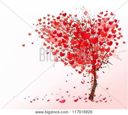Valentine background with heart shaped tree.