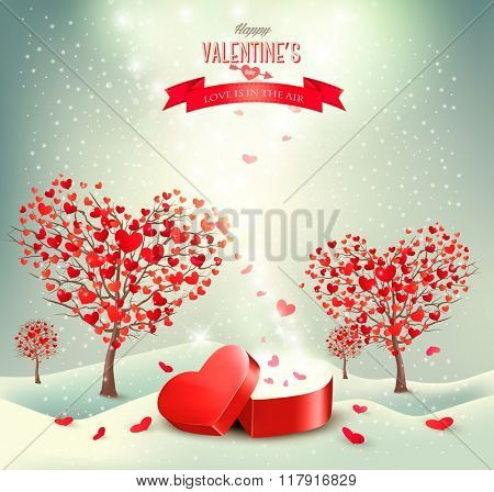 Valentine background with heart shaped trees.