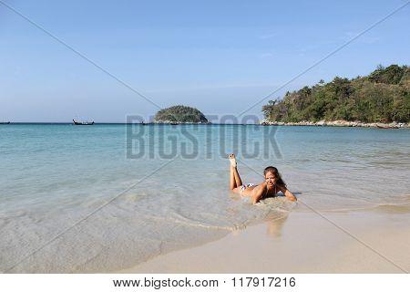 Lovely Young Woman On The Sunny  Kata Beach, Phuket, Thailand