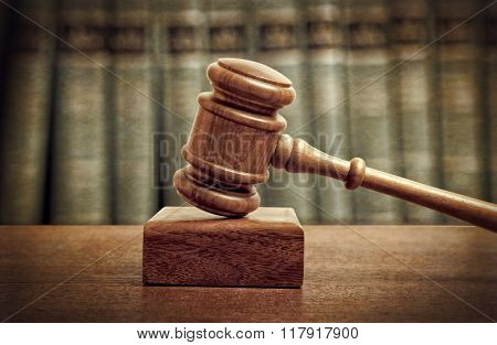 The gavel of a judge in court. Vintage style