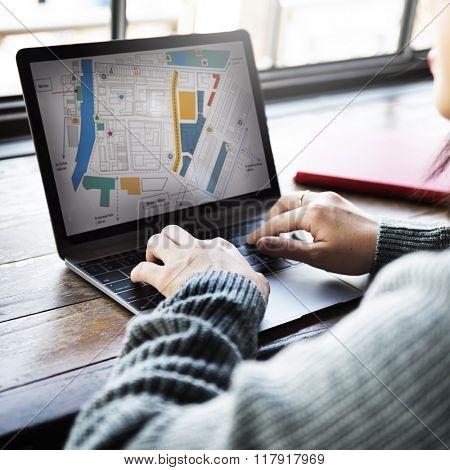 Online Search Travel Commuter Destination Tourist Concept