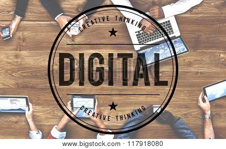 Digital Data Computer Advanced Media Electronic Concept