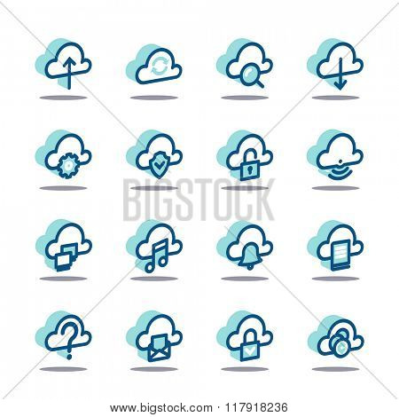 3D Business Fat Line Icon set for web and mobile. Modern minimalistic flat design elements of cloud computing and wireless technology