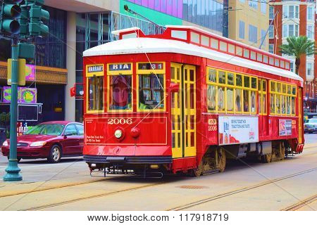 February 2, 2016 in New Orleans, LA:  Historic streetcar trolley where tourists and locals use to travel around the city and is a part of the public transportation system taken on Canal Street in Downtown New Orleans, LA