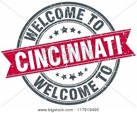 welcome to Cincinnati red round vintage stamp