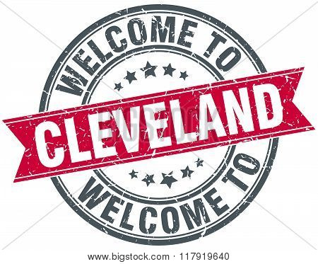 welcome to Cleveland red round vintage stamp