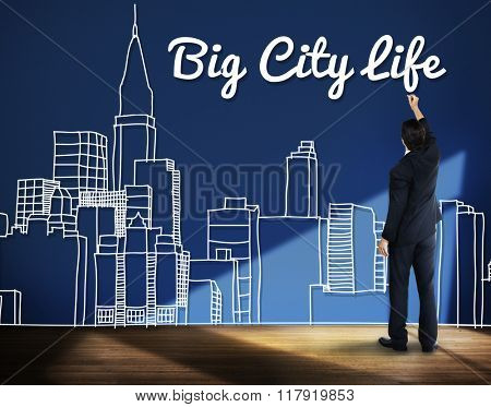 Big City Life Downtown District Metropolis Location Concept