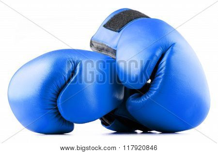 Pair Of Blue Leather Boxing Gloves Isolated On White