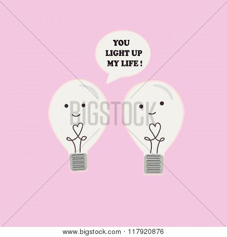 Two incandescent light bulbs in love