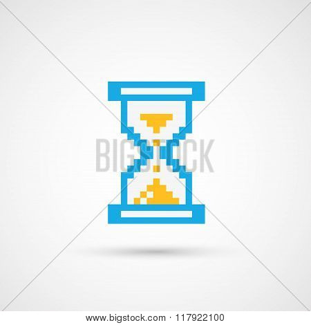 Pixel cursor icon - sandglass.Vector Illustration.