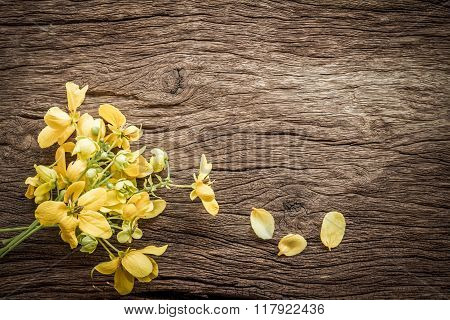Summer Flowers On A Wooden Old Background. Beautiful Flower Background With Yellow Flowers.