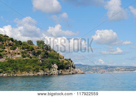 View Over Scilla And Sicily, Calabria, Italy