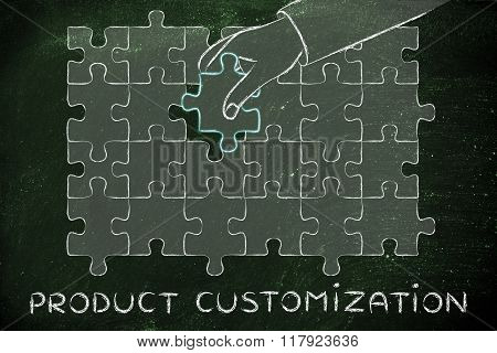 Hand Completing A Puzzle, With Text Product Customization