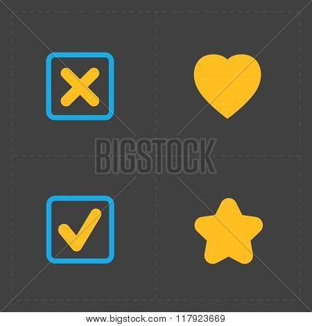 Four flat social icons set on Dark Background