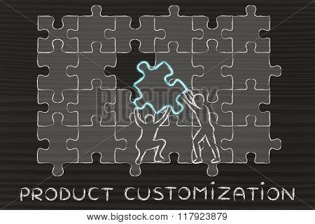 Men Completing A Huge Puzzle, With Text Product Customization