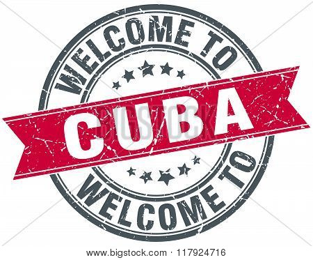 welcome to Cuba red round vintage stamp