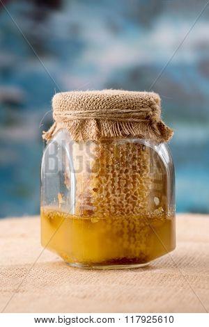 Glass Honey Jar With Bee Pollen, Honeycombs