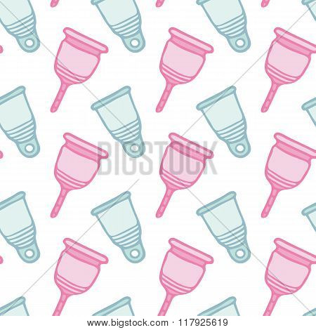 Feminine hygiene products sketch. Seamless pattern with hand-drawn cartoon icon - menstrual cup. Vec