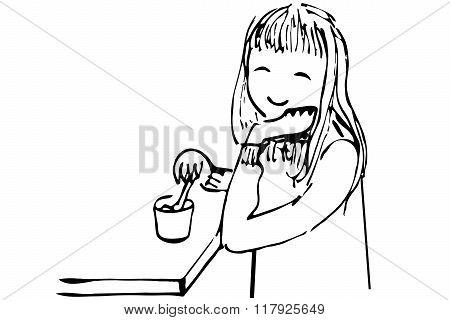 Vector Sketch Of A Girl Drinking Tea