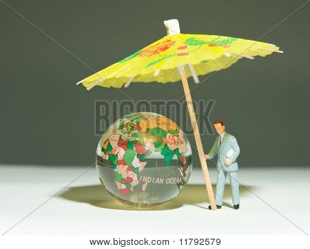 Security Man Holding Umbrella Under Globe