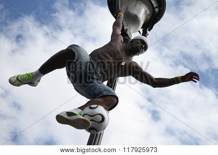 Paris,france - May 29, 2014 - Footballer Freestyler, Iya Traore From Guinea, In Sacre Couer