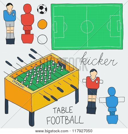 Table football icons set.  Vector illustration