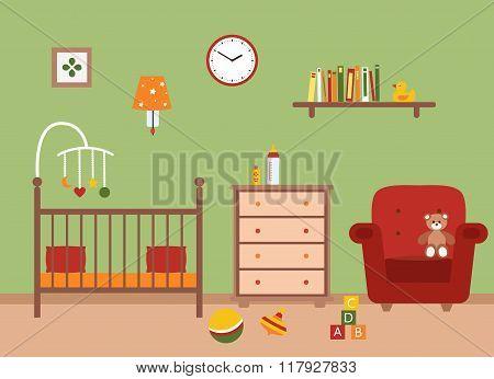 Nursery  vector interior.