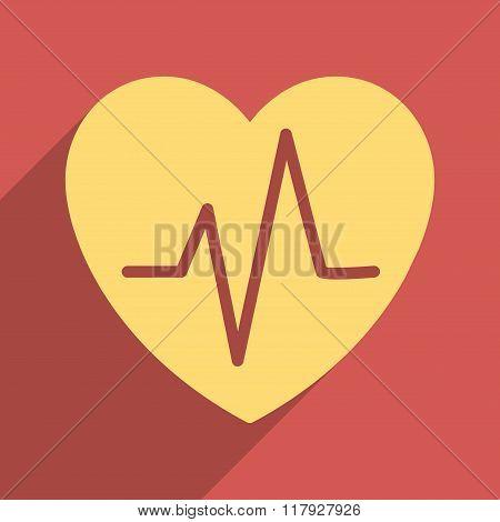 Heart Ekg Flat Long Shadow Square Icon
