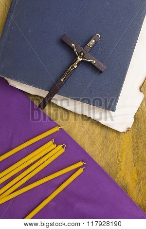 Thin Candles On Purple Cloth Used In Religion