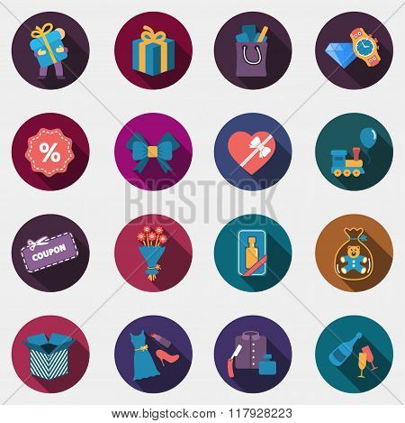 Gift flat circle colorful shop icons with shadow