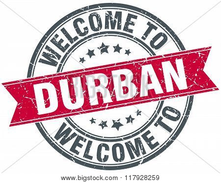welcome to Durban red round vintage stamp