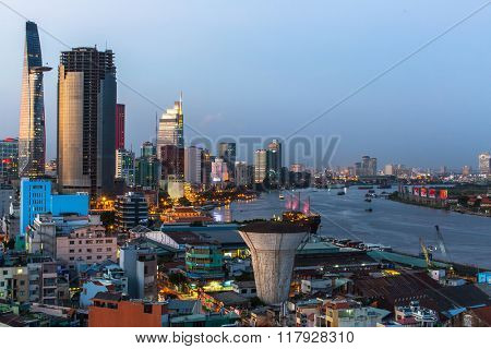 HO CHI MINH CITY, VIETNAM - CIRCA JAN, 2016: Top view of Ho Chi Minh City (Saigon) at night time. Is located in the South of Vietnam, is the country's largest city, population 8 million.