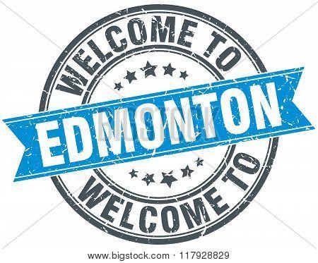 welcome to Edmonton blue round vintage stamp