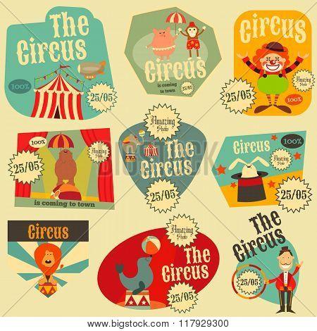 Circus Labels Set