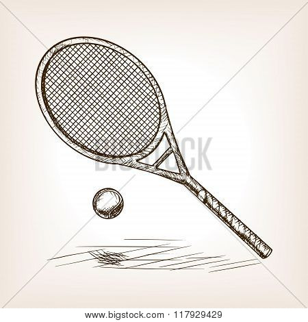 Tennis hand drawn sketch style vector