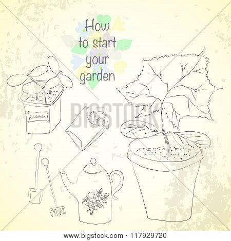 Vector Sketch Gardening Set